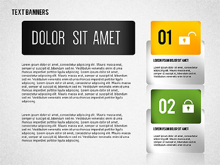 Colorful Text Banners with Icons, Slide 3, 02326, Text Boxes — PoweredTemplate.com
