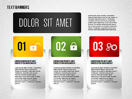 Colorful Text Banners with Icons, Slide 4, 02326, Text Boxes — PoweredTemplate.com