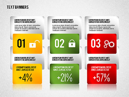 Colorful Text Banners with Icons, Slide 5, 02326, Text Boxes — PoweredTemplate.com
