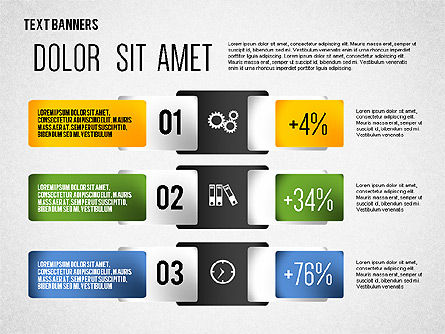 Colorful Text Banners with Icons, Slide 7, 02326, Text Boxes — PoweredTemplate.com