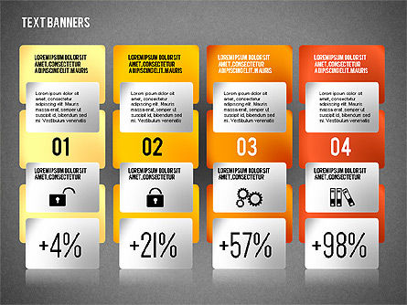 Colorful Text Banners with Icons, Slide 9, 02326, Text Boxes — PoweredTemplate.com
