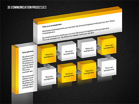 3D Communication Processes Diagram, Slide 13, 02343, Process Diagrams — PoweredTemplate.com