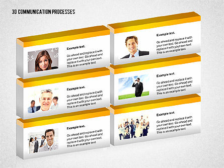 3D Communication Processes Diagram, Slide 6, 02343, Process Diagrams — PoweredTemplate.com