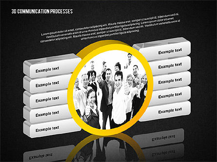 3D Communication Processes Diagram, Slide 9, 02343, Process Diagrams — PoweredTemplate.com