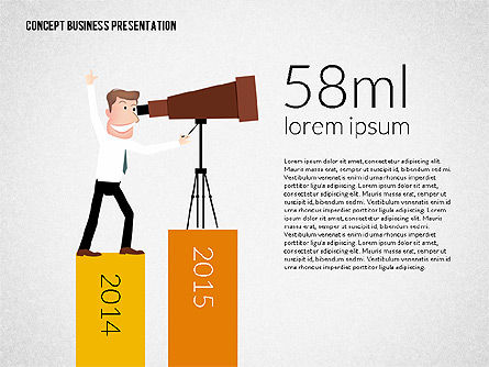 Business Presentation Template Concept with Character, 02357, Presentation Templates — PoweredTemplate.com