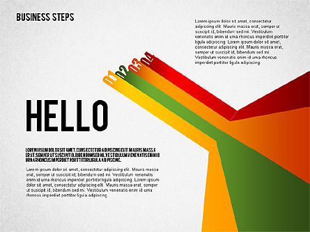 Stage Diagrams: Colored Business Steps Diagram #02379