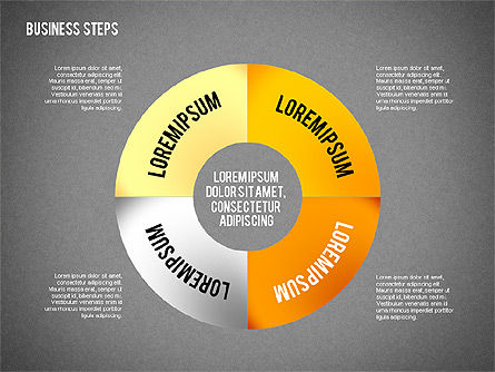 Colored Business Steps Diagram, Slide 10, 02379, Stage Diagrams — PoweredTemplate.com