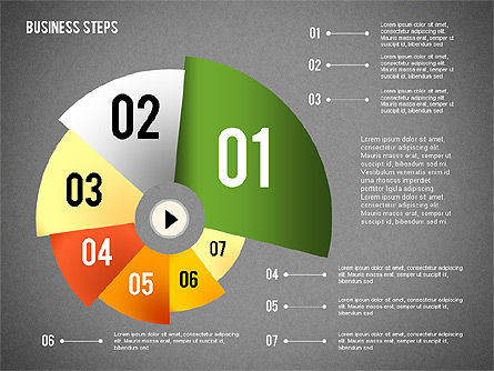 Colored Business Steps Diagram, Slide 11, 02379, Stage Diagrams — PoweredTemplate.com