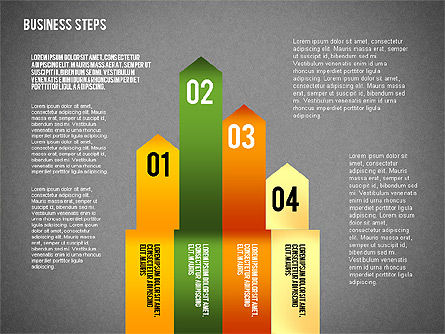 Colored Business Steps Diagram, Slide 15, 02379, Stage Diagrams — PoweredTemplate.com