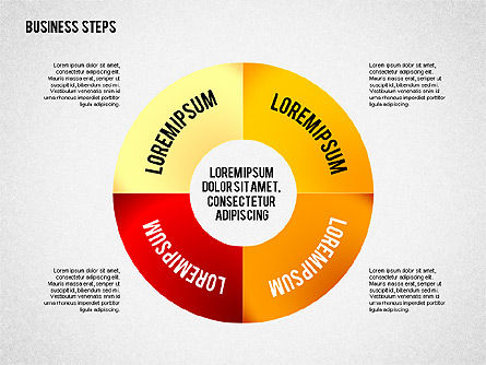 Colored Business Steps Diagram, Slide 2, 02379, Stage Diagrams — PoweredTemplate.com