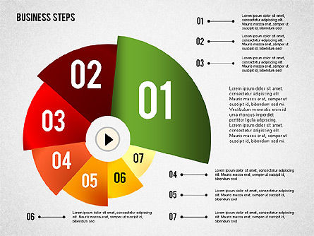 Colored Business Steps Diagram, Slide 3, 02379, Stage Diagrams — PoweredTemplate.com