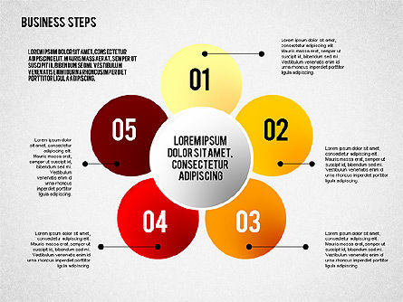 Colored Business Steps Diagram, Slide 4, 02379, Stage Diagrams — PoweredTemplate.com