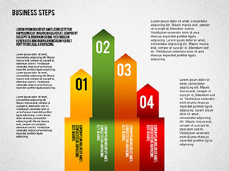 Colored Business Steps Diagram, Slide 7, 02379, Stage Diagrams — PoweredTemplate.com