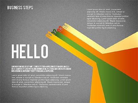 Colored Business Steps Diagram, Slide 9, 02379, Stage Diagrams — PoweredTemplate.com