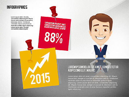Infographics in Flat Design with Character, Slide 3, 02408, Infographics — PoweredTemplate.com