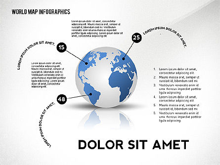 World Map and Globe Infographics, Slide 3, 02411, Infographics — PoweredTemplate.com