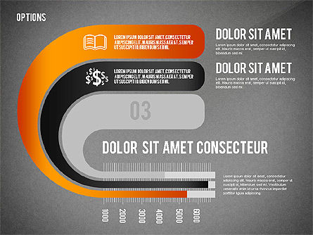 Curved Ribbon Options Shapes, Slide 10, 02418, Stage Diagrams — PoweredTemplate.com