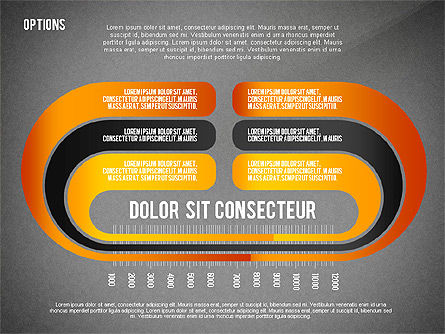 Curved Ribbon Options Shapes, Slide 12, 02418, Stage Diagrams — PoweredTemplate.com