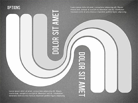 Curved Ribbon Options Shapes, Slide 13, 02418, Stage Diagrams — PoweredTemplate.com