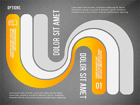 Curved Ribbon Options Shapes, Slide 14, 02418, Stage Diagrams — PoweredTemplate.com