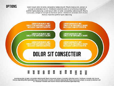 Curved Ribbon Options Shapes, Slide 4, 02418, Stage Diagrams — PoweredTemplate.com