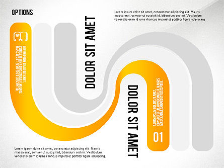 Curved Ribbon Options Shapes, Slide 6, 02418, Stage Diagrams — PoweredTemplate.com