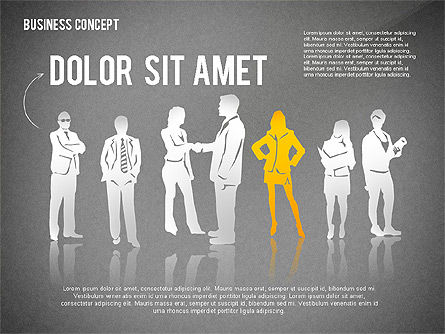 Business Concept with Silhouettes, Slide 11, 02424, Silhouettes — PoweredTemplate.com