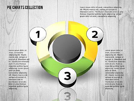 3D Donut Chart Collection, Slide 2, 02439, Pie Charts — PoweredTemplate.com