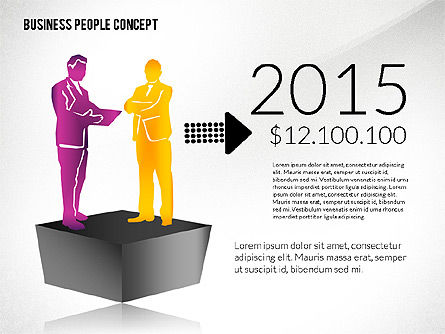 Concept with Business People Silhouettes, Slide 4, 02440, Silhouettes — PoweredTemplate.com