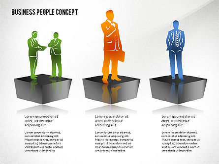 Concept with Business People Silhouettes, Slide 6, 02440, Silhouettes — PoweredTemplate.com