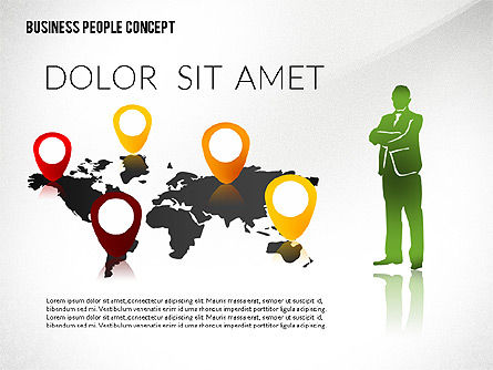 Concept with Business People Silhouettes, Slide 8, 02440, Silhouettes — PoweredTemplate.com