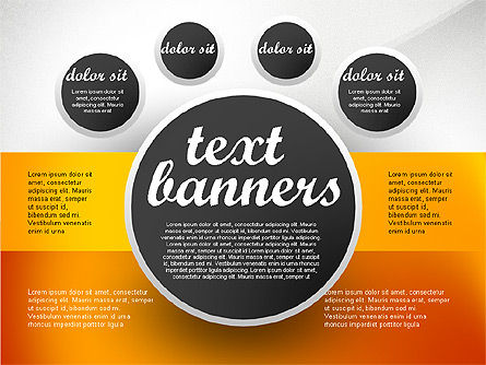 Text Boxes: Gray Round Text Banners #02441