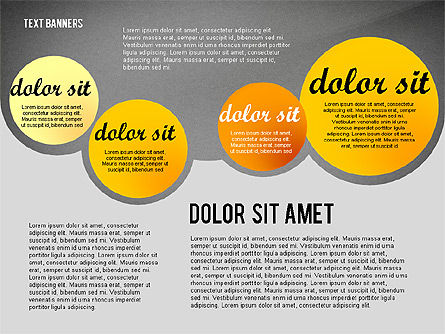 Gray Round Text Banners, Slide 10, 02441, Text Boxes — PoweredTemplate.com