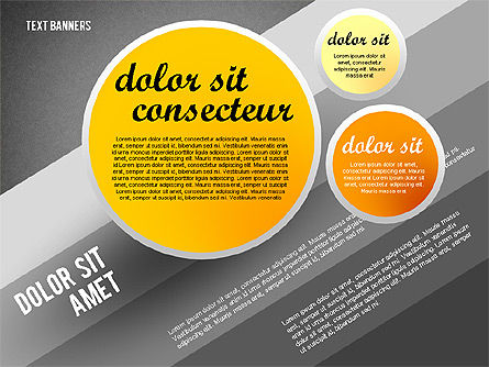 Gray Round Text Banners, Slide 11, 02441, Text Boxes — PoweredTemplate.com
