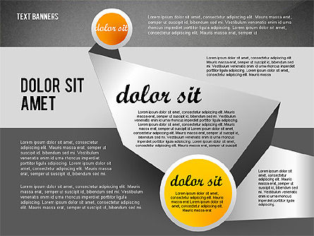 Gray Round Text Banners, Slide 12, 02441, Text Boxes — PoweredTemplate.com
