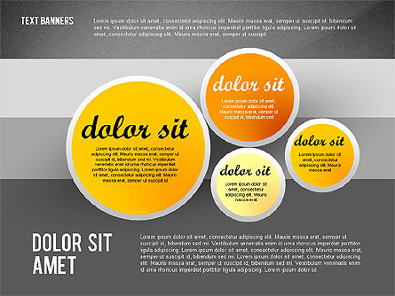 Gray Round Text Banners, Slide 13, 02441, Text Boxes — PoweredTemplate.com