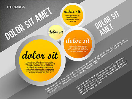 Gray Round Text Banners, Slide 14, 02441, Text Boxes — PoweredTemplate.com