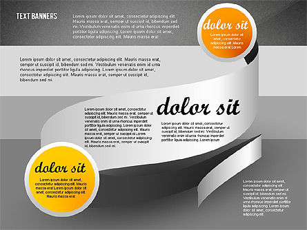 Gray Round Text Banners, Slide 15, 02441, Text Boxes — PoweredTemplate.com