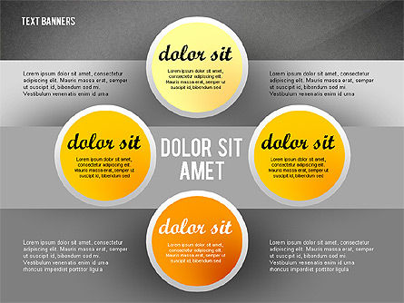 Gray Round Text Banners, Slide 16, 02441, Text Boxes — PoweredTemplate.com