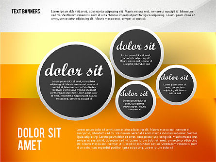 Gray Round Text Banners, Slide 5, 02441, Text Boxes — PoweredTemplate.com