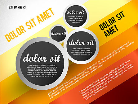 Gray Round Text Banners, Slide 6, 02441, Text Boxes — PoweredTemplate.com