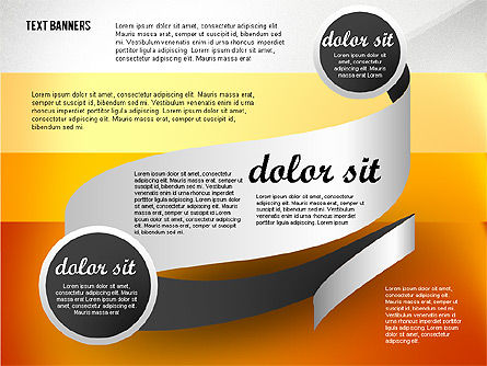 Gray Round Text Banners, Slide 7, 02441, Text Boxes — PoweredTemplate.com