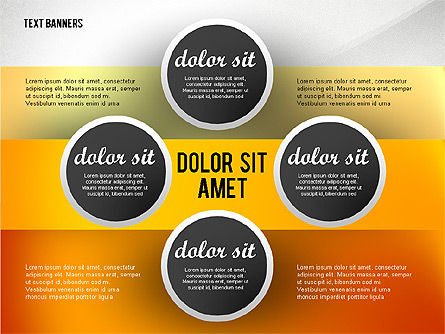 Gray Round Text Banners, Slide 8, 02441, Text Boxes — PoweredTemplate.com