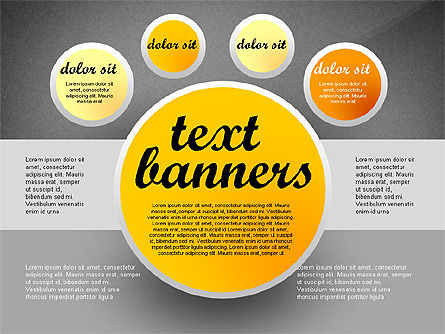 Gray Round Text Banners, Slide 9, 02441, Text Boxes — PoweredTemplate.com