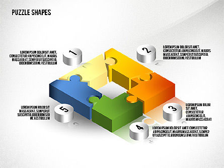 Isometric Puzzle Shapes, Slide 3, 02456, Puzzle Diagrams — PoweredTemplate.com