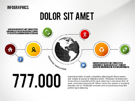 Infographics with Globe, 02458, Infographics — PoweredTemplate.com