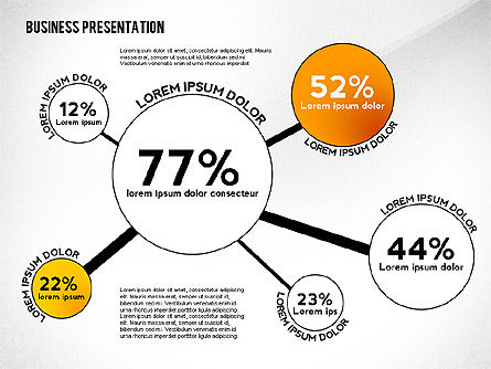 Business Presentation with Data Driven Charts, 02472, Presentation Templates — PoweredTemplate.com