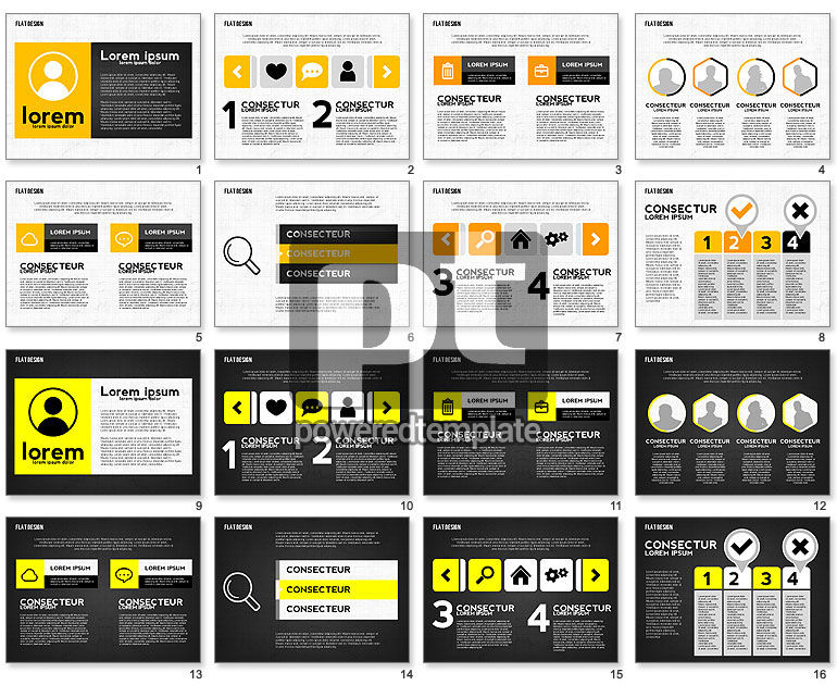 Flat Designed Monochrome Presentation Template
