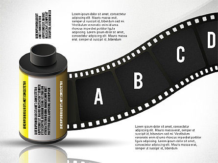 Film Reel Infographics, Slide 2, 02500, Infographics — PoweredTemplate.com