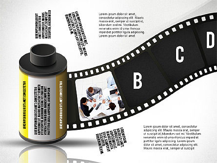 Film Reel Infographics, Slide 3, 02500, Infographics — PoweredTemplate.com